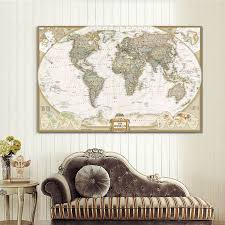 world map painting on canvas prints large size wall art europe vintage picture for living room study office decor no frame us52 on world map wall art canvas with world map painting on canvas prints large size wall art europe