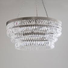 710mm dia shallow clear crystal chandelier with flat nickel