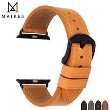 ซ อท ไหน maikes genuine leather watch accessories for apple watch strap apple watch band 38mm 42mm series 1 2 3 iwatch orange watchband ในประเทศไทย