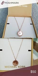 michael kors rose gold tone mk logo flat disc round pendant necklace michael kors jewelry necklaces