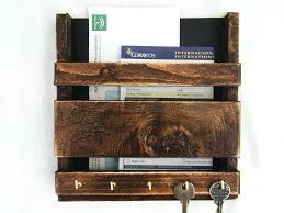 rustic wooden wall hanging mail holder key rack organiser letter with regard to and prepare organizer