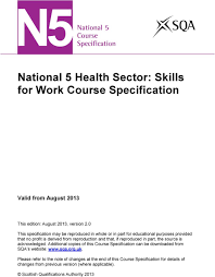 Skills For Work National 5 Health Sector Skills For Work Course Specification Pdf