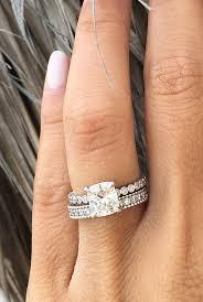 moissanite enement rings white gold solire cushion cut wedding set