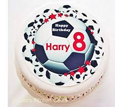 Personalised Football Cake Topper Choose Colour Name Age