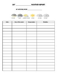 Monthly Weather Chart Monthly Weather Chart By Dreking Teachers Pay Teachers