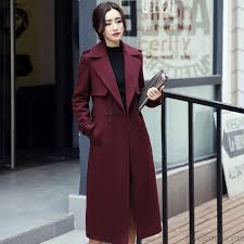 fashion women long lapel single ted red trench coat con overcoat