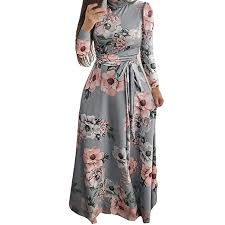 BB67 Women Long Dress Boho Maxi Flower Print ... - Amazon.com