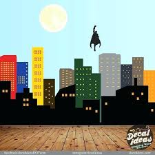 city skyline decal superman printed by superhero wall decals australia murals