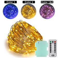 Outdoor Led String Lights With Remote Control Us 19 26 17 Off Xmas Dual Color Led String Lights 66ft Silver Wire 6aa Remote Control For Bedroom Indoor Outdoor Tree Decorations Smart Remote In