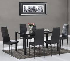 sentinel foxhunter glass dining table with 4 6 chairs set faux leather dining room black