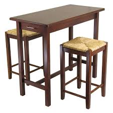 Amazon Com Winsome Kitchen Island Table With Rush Seat Stools Regard