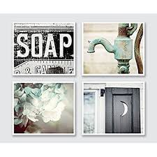 >shabby chic bathroom wall decor amazon  bathroom decor set of 4 5x7 photographs rustic bathroom wall art in aqua black and teal