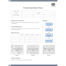 Sample Specification Sheet Template Example Product Specification Sheet Example 1