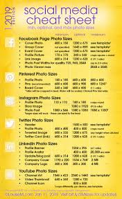 Each X Other Size Chart Social Media Cheat Sheet 2019 Must Have Image Sizes