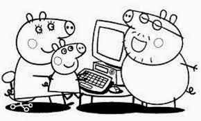 Peppa Pig Mamma Pig Papà Pig Al Computer Disegno Da Colorare Gratis