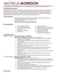 Sonographer Resume Sample Experience Resumes