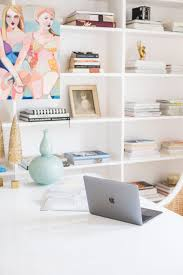 White airy home office Ideas Bright Airy Office White Lacquer Desk Rememberingfallenjscom Bright Airy Office White Lacquer Desk The Leslie Style