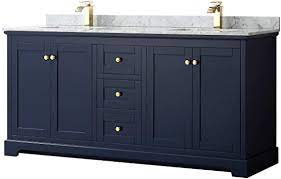Wyndham Collection Avery 72 Inch Double Bathroom Vanity In Dark Blue White Carrara Marble Countertop Undermount Square Sinks And No Mirror Amazon Com