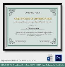 Certificate Of Excellence Template Word Gorgeous Certificate Of Appreciation PSD Word Designs Design Trends