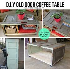 salvage a door into a coffee table