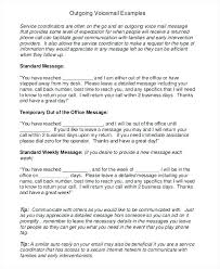 Out Of Office Voicemail Message Template Professional Greeting Voice