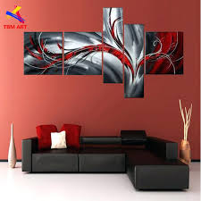 modern abstract canvas wall art grey and red color pic abstract canvas painting large handmade modern