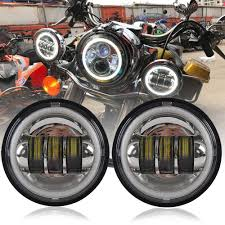 4 1 2 Inch Led Driving Lights Athiry 1 Pair Chrome 4 1 2 4 5 Inch Round Led Fog Lights With White Drl Halo Ring For Road King Night Train Motorcycles Auxiliary Driving Passing