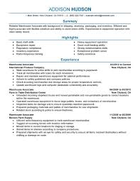 Free Warehouse Associate Resume Example Download Vinodomia