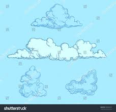 Clouds Design Clouds Design Set Hand Drawn Engraving Stock Vector Royalty Free