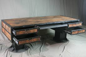 industrial wood furniture. Wood And Steel Industrial Style Desk With Storage Furniture I