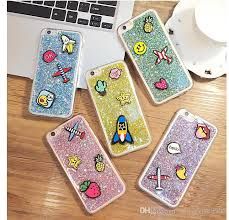 diy cell phone cases small cute stickers on the case bling glitter aircraft fruits cover for apples iphone 6s 6splus 6plus new accessory