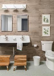wood plank kids bathroom wall with
