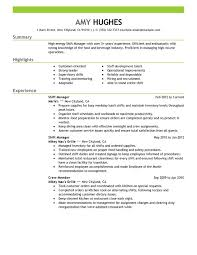 Shift Manager Food And Restaurant Fast Food Resume
