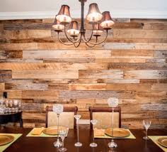 Contemporary, sleek dining room with rustic wood plank wall.