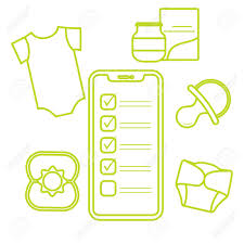 Baby Supplies Checklist Vector Illustration With Smartphone With Checklist Newborn Baby