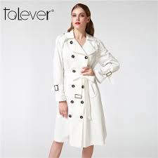 2019 autumn winter long trench coat for women white black turn down collar belt double ted female casual outwear windbreaker 4xl from mangcao