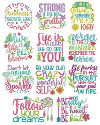 Free Machine Embroidery Sayings Designs Inspired Sayings Set 4 Machine Embroidery Paper