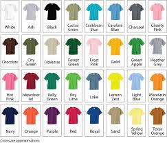 T Shirt Color Chart Tee Shirt Color Chart Kds Graphicskds Graphics
