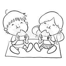 おにぎりを食べる子供 線画 ぬり絵イラスト No 841417無料イラスト