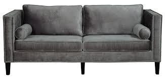 Grey Velvet Sofa  Tufted Sleeper Grey Tufted Sofa50