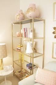 glass shelves for living room. ikea shelf hack. paint it gold--done. (uses vittsjÖ shelving unit glass shelves for living room n