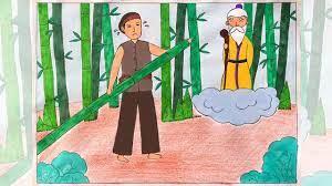Vẽ tranh minh hoạ truyện cổ tích | Vẽ tranh truyện cổ tích | Vẽ truyện cổ  tích cây tre trăm đốt - YouTube
