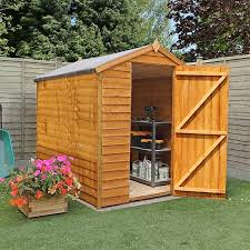 the apex overlap wooden garden shed provides a large amount of secure storage space for those on a budget this wooden garden building is ideal for