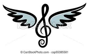 Treble Clef With Wings A Symbol Of A Treble Clef With Blue Wings