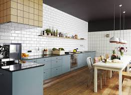 kitchen white subway tile with gray grout kitchen steel table mixer simple polished wooden floorboard