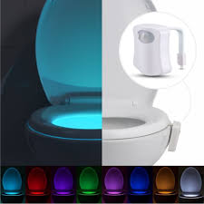 Eutuxia Toilet Bowl Night Light with Motion & Light Detection Sensor.  8-Color Changing LED with 2 Modes to Illuminate the Bathroom in the Dark.