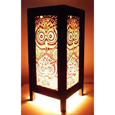 asian lighting. thai vintage handmade asian oriental night owl bedside table light or floor wood paper lamp shades lighting o