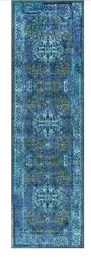 teal overdyed rug synthetic fiber machine made traditional vintage inspired fancy blue runner rug