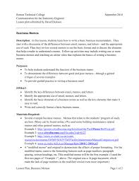 Business Memo Format Lesson Plan Business Memos Construction Center Of Excellence