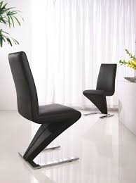 black modern z leather dining chair